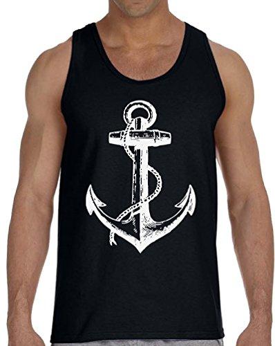 Vizor Anchor Tank Top for Men Marine Tank US Navy Muscle Shirt Sailor Tank Top Black 2XL