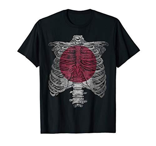 Japanese Skeleton Costume Asian Halloween Gifts Japan Flag T-Shirt