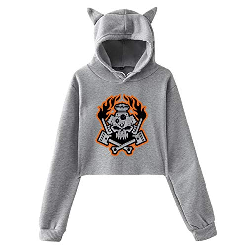 - Hot Rod Racer Women's Cotton cat Ear Sweater Pullover Shirt Gray