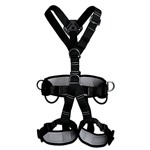 Full Body Adult Safety Harness Outdoor Rock Climbing Momentum Harness for Mountaineering Outward Band Expanding Trainin Caving Rock Climbing Rappelling Equip Black (Gorilla Chalk Bag)
