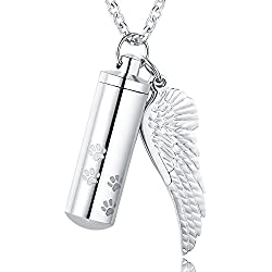 XIUDA Cross Pendant Dog Paw Cylinder with Angel Wing Charm Necklaces Pendant Cremation Jewelry