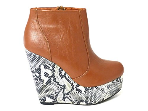 New Womens Wedge Heel Chelsea Chunky Cleated Platform Ladies Ankle Boots Shoes Size 3 4 5 6 7 8 Tan (1032) 0SbKmQVD