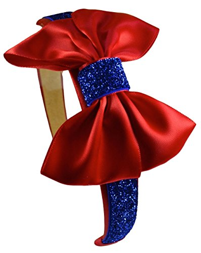 [Snow White Inspired Sparkling Glitter Bow Headband (Red)] (Party Glitters Costumes)