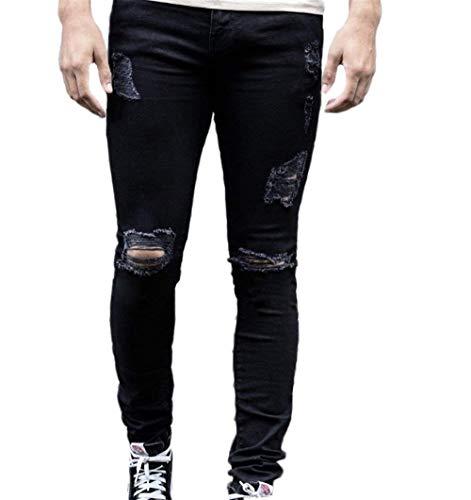 Jeans Mode Nero Di Moda Marca Uomo Strappati Attillati Con Casual Fitness Elasticizzati Aderenti Zip Da Pantaloni Nudi 4rB48q