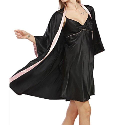 YUYU Mujeres Seda de imitación Chaqueta de punto Camisón De dos piezas Verano Peso ligero Moda Suave Pijamas , black / pink