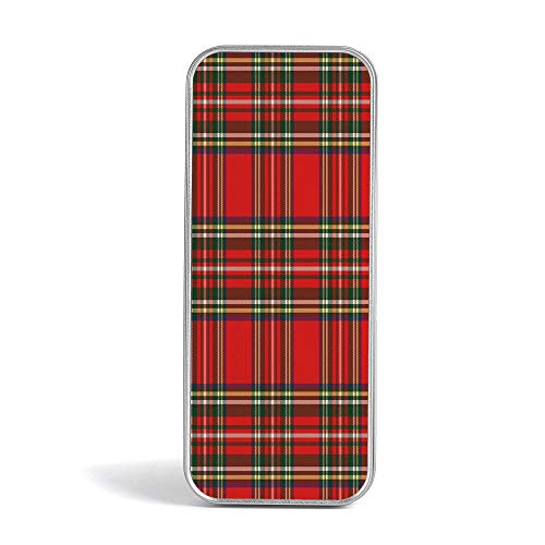 Tin Storage Box,Red Plaid,Pen Case Organizer for School Office Home,European Western Culture Inspired Abstract Tartan Motif Vintage Classical Design - Transformer Box Lunch Metal