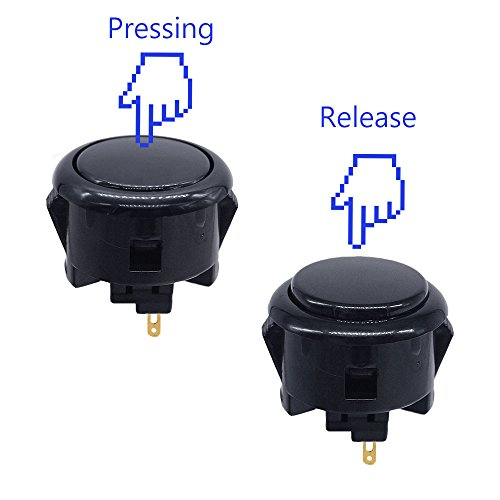6Pcs 30mm Arcade Push Buttons Black for Sanwa OBSF-30 Jamma Games Parts Games Buttons Arcade Push Button Joystick Video Game Console by YUNDA (Image #3)