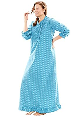 Only Necessities Women's Plus Size Cotton Flannel Print Gown