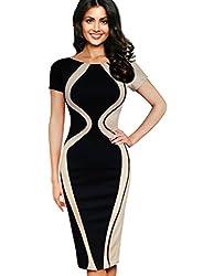Vfemage Womens Optical Illusion Colorblock Contrast Slim Work Casual Dress 2928 BLK 16