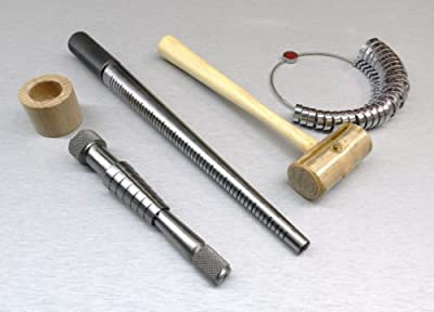 Ring Stretcher Kit - Mandrel - Wide Finger Gauge Rawhide Mallet - Rathburn Sizer