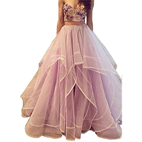 FNKS Sweetheart Embroidery Layed Two Piece Prom Dresses Formal Gown Lavender US 8