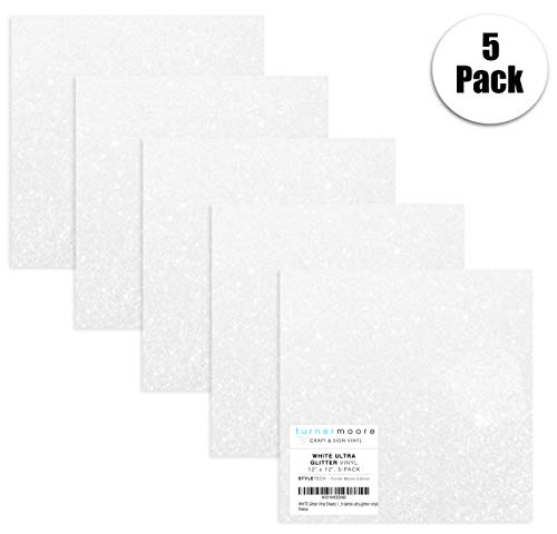 White Glitter Vinyl, 12 x 12 Glitter Vinyl Sheets for Maker Explore Air, Silhouette Cameo Portrait, Stickers + Bonus 12x12 Teal Glitter Exclusive Color by StyleTech x Turner Moore Edition