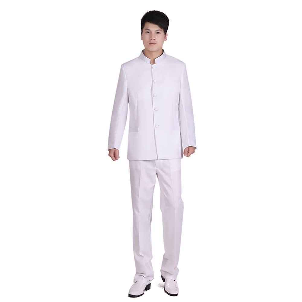 Chinese Tunic Suits Mandarin Collar Formal Black Suit Slim Fit Front Button Japanese School Uniform Groom Dress (White, Asia S(Bust 37.8'', Waist 30''))