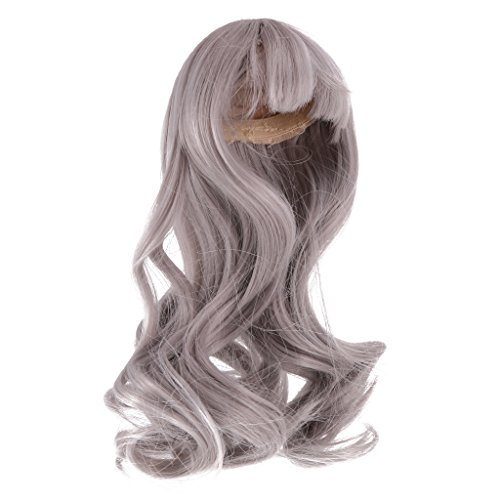 Jili Online Long Wave Curly Hair Wig Hairpiece for 1/4 BJD SD Dolls Accessories - Gray