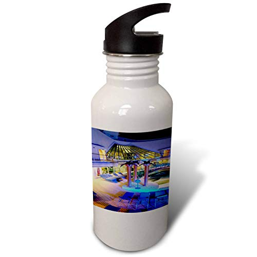 3dRose Lens Art by Florene - Cruise Ship Sites - Image of Adult Pool Area with Spa - Flip Straw 21oz Water Bottle (wb_291436_2) by 3dRose