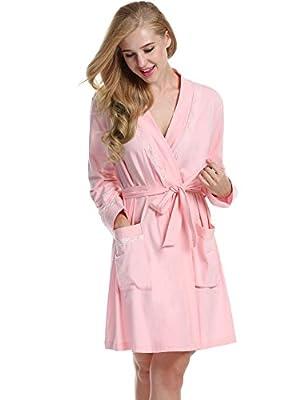 L'amore Womens Short Sleepwear Modal Cotton Knit Robe-Lace Trim Bridesmaid Bathrobes