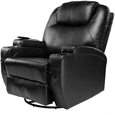 BAHOM 9 in 1 Massage Recliner Chair, 360 Swivel Ergonomic Lounge Chair with Remote Control, PU Leather with Headrest Adjustable Black