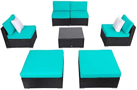 Kinsunny 7 PCs Outdoor Patio Furniture Set Wicker Single Sofa Chairs Black Rattan Thick Cushion