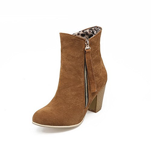 Allhqfashion Women's Solid Imitated Suede High-Heels Zipper Round Closed Toe Boots Brown uTod7ZH
