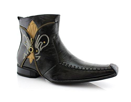 Delli Aldo Men's 668 Square Toe Fleur De Lis Design Zipped Ankle Dress Boots, Black, 9.5
