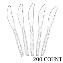 Plasticpro Clear Plastic Knives Disposable Cutlery Utensils 200 Count