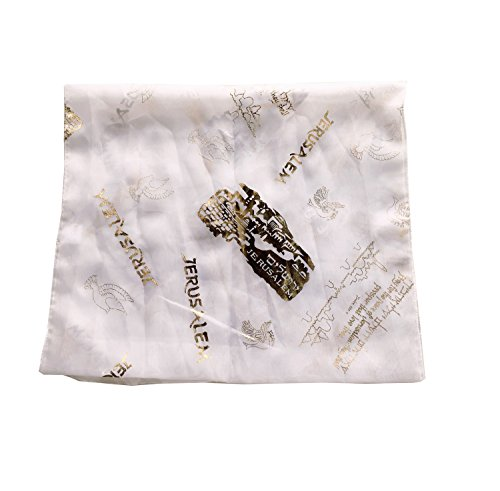Messianic / Christian Head Scarf - Model II - 100% polyester, Hand wash ( 180 x 120 cm OR 20 x 60 inches ) (White) by Holy Land Market