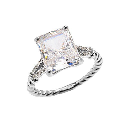 Bague Femme/ Bague De Fiançailles 10 Ct Or Blanc Emeraude Coupe Oxyde De Zirconium Et Diamant Solitaire Conception De Corde