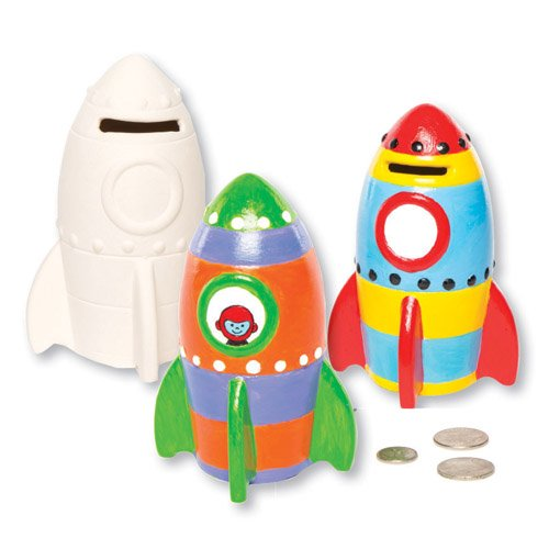 - Rocket Ceramic Coin Banks Paint Your Own Ceramic Money Box with This Creative Craft Set for Children (Pack of 2)