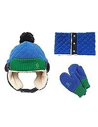 Triwonder Little Boys Girls Toddlers Winter Warm Fleece Flap Hat Scarf Mittens Set (M(1-5 years old), Blue)