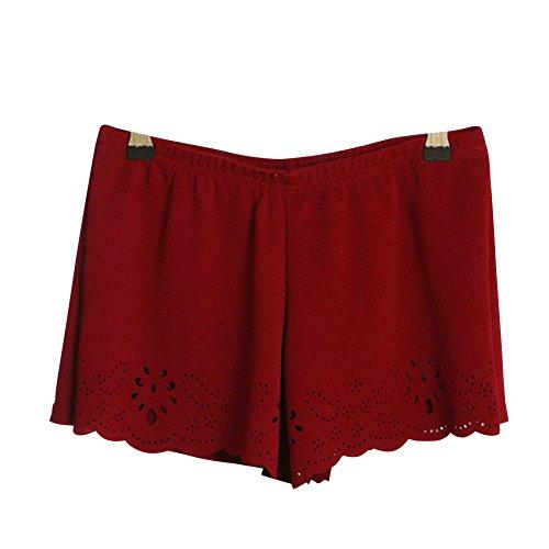 Donne Bassa Molly Vino Magere Cinturino Pizzo Vita Pantaloncini Elastico rosso RO76H7pc