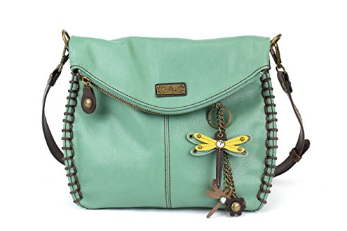 Chala Charming Crossbody Bag With Flap Top | Flap and Zipper Teal Cross-Body Purse Shoulder Handbag with Metal Chain - Teal (Mini DragonFly (Saddle Flap Handbag)