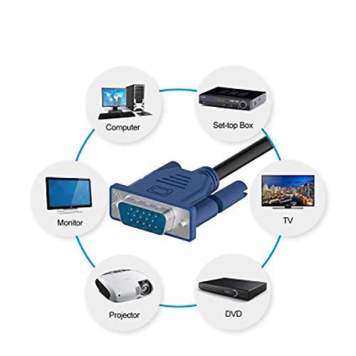 Andifany 3 4 Vga Cable 1.5M Monitor Macho A Macho Conector de Cable de Video de Extensi/ón para Pc Ordenador Port/átil TV L/ínea Vga Proyector TV Caja