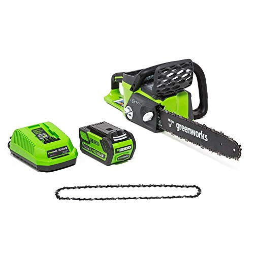 Greenworks 16-Inch 40V Cordless Chainsaw with Extra Chain, 4AH Battery and a Charger Included 20312 (Renewed)