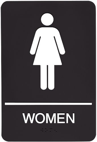 Headline Sign 9004 ADA Women's Restroom Sign with Tactile Graphic, 6 Inches by 9 Inches, Black/White