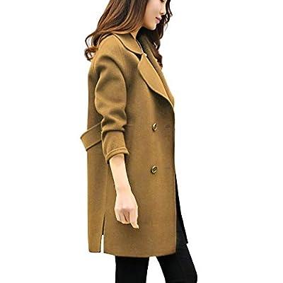 NUWFOR Outwear Cardigan Overcoat Women's Lapel Wollen Cotton Blend Longline Winter Fall Warm Coat for Winter/Autumn White
