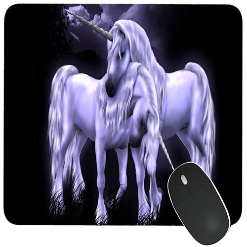 GoodCheer Two Cute Unicorn Horse Love in Night -Dekstop Rubber Base Printed Game Mouse pad for Laptop Computer /Best for Gaming & Gamers