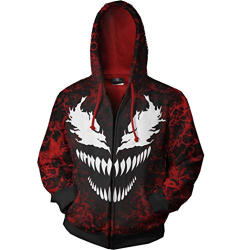 Boruixi Shops Halloween Holiday 3D Venom Costume Hoodie