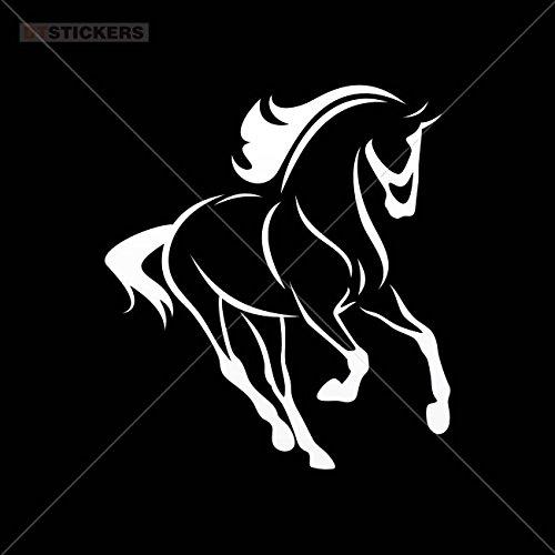 Horse Decals Running - Vinyl Stickers Decals Horse Running Garage home window (4 X 3,6 In. ) Vinyl color White