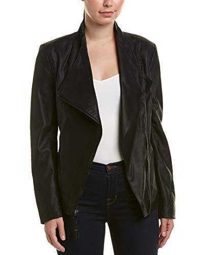 - Via Spiga Women's Lightweight Leather Ponte Jacket, Jet Black, Medium