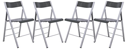 LeisureMod Menno Modern Transparent Acrylic Folding Chair (Set of 4), Black