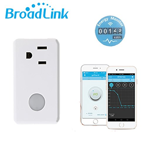 Broadlink SP3S Wi-Fi Smart Timer Plug With Energy Monitoring,Wireless Remote Control Socket with Night Light Energy Meter Home Automation by Broadlink