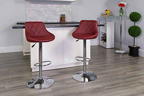 Flash Furniture Contemporary Burgundy Vinyl Bucket Seat Adjustable Height Barstool with Diamond Pattern Back and Chrome Base