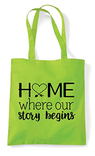 Statement Our Where Tote Lime Family Story Bag Shopper Home Begins vXpx5qU