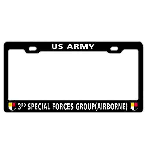 Hopes's Cool Aluminum Metal License Plate Frame Black Auto License Tag Holder - 3rd Special Forces Group (Airborne) US Army