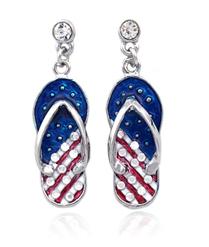 4th of July USA American Flag Design Flip Flop Sandal Post Dangling Earrings (Silver-tone) ()