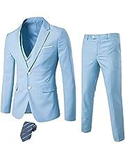 سترة رجالي من 3 قطع من MrSure ، مقاس نحيف مع زرين، سترة وسروال وطقم ربطة عنق للحفلات، والزفاف، والأعمال التجارية