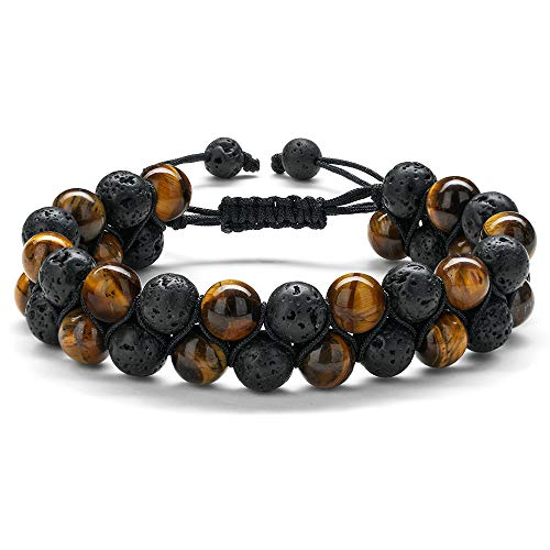 Mens Bracelet Beads Healing Adjustable - 8mm Natural Yellow Tiger Eye Beaded Bracelet Adjustable Black Lava Rock Stone Essential Oil Anxiety Stress Aromatherapy Bracelets Jewelry Gifts for Men ()