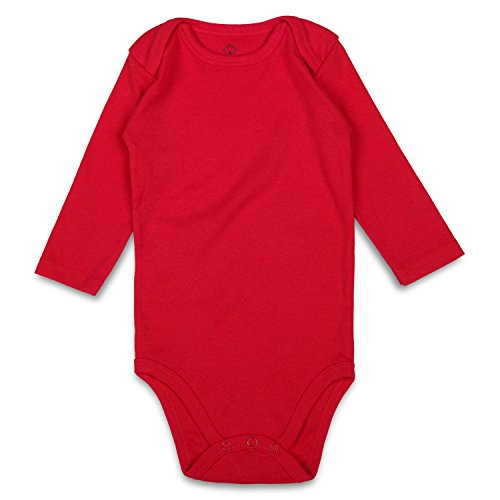 ROMPERINBOX Unisex Solid Baby Bodysuit 0-24 Months (18-24 Months, Red Long - Onesies Sleeve Month Long 18