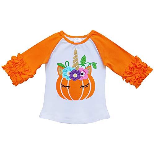 So Sydney New Toddler & Girl Fall & Winter Holiday Sparkle Ruffle Raglan T-Shirt (S (3T), Unicorn Pumpkin Orange) ()
