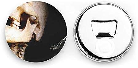 Abrebotellas redondos de esqueleto / Imanes de nevera Sacacorchos de acero inoxidable Etiqueta magnética 2 piezas
